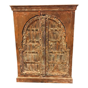 Mogul Interior - Consigned Antique Chest Haveli Rustic Red Wooden Double Door Sideboard Cabinet - Accent Chests And Cabinets
