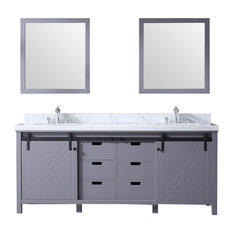 "80"" Double Vanity Dark Gray, White Carrera Marble Top, White Sinks, 30"" Mirror"