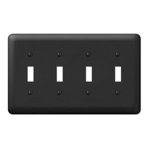 Devon Steel 4-Toggle Wall Plate, Black