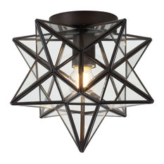 """Stella 9.75"""" Moravian Star Metal and Glass LED Pendant, Oil Rubbed Bronze"""