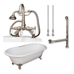 """Cast Iron Double Ended Clawfoot Tub, English Style, Brushed Nickel, 67""""x30"""""""