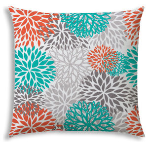 Bursting Blooms Indoor Outdoor Pillow Sewn Closure Contemporary Outdoor Cushions And Pillows By Joita Houzz