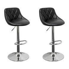 Claire Faux Leather Adjustable Swivel Bar Stools Set Of 2 Black
