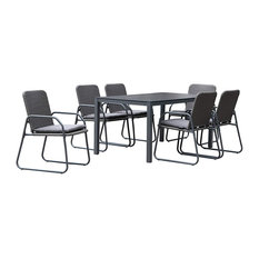 Barite Outdoor Dining Set, 6 Person, Anthracite and Grey
