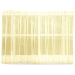 """Emelia Sheer Solid Yellow Kitchen Curtain, 24"""" Tier - This solid kitchen curtain is made of very sheer voile polyester. The matching valance and swag pair are sold separately from the bottom tiers or can be used alone to accent the window. The bottom tiers are available in 24"""" long tier or 36"""" long tier. The picture shows: one swag (pair) + two valances in between over two tier (pairs). as sheer curtains look best when very full."""