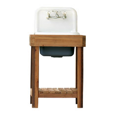 Reclaimed Wood Utility Farm Sink Stand Original Finish High Back Sink Hague Blue