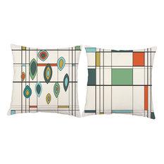 Retro Geometric Grid Pillow Covers 14x14 White Cotton Shams