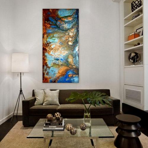 large wall art fluid acrylic painting metal wall art