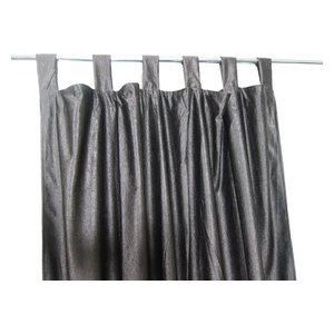 Mogul Interior - Consigned Coffee Brown Tab Top Indian Sari Curtain / Drape / Panel- Pair Window - Curtains