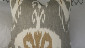 Ikat Designer Pillow Cover in Slate with Off-white and Tan Design