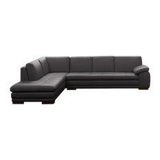 625 Italian Leather Sectional, Gray, Left Hand Facing Chaise