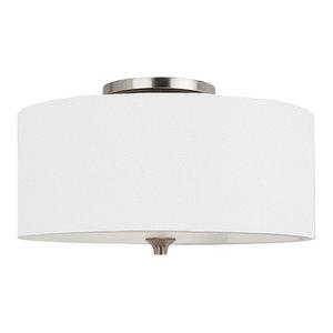 Sea Gull Lighting 2-Light Flush Mount, Brushed Nickel and White Linen