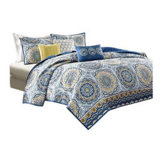 Madison Park Microfiber Printed 6-Piece Coverlet Set, Queen