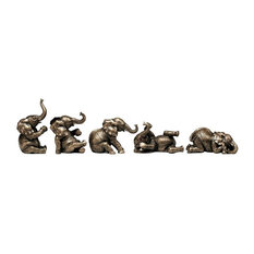 The Playful Pachyderms Sculptures, 5-Piece Set