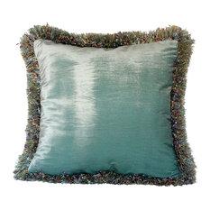 "Silk Velvet Decorative Throw Pillow With Fringe, 22""x22"""