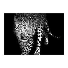 "Styler Sp.J - ""Leopard"" Black and White Glass Print Glass Print, 100x70 cm - Prints & Posters"