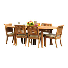 """7-Piece Teak Dining Set, 94"""" Ext Oval Table, 6 Arbor Stacking Armless Chairs"""