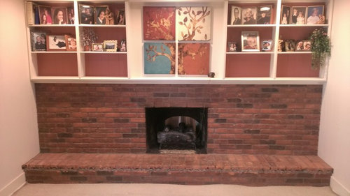 Fireplace Transformation From Brick To Stone Veneer