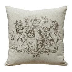 Crest, Hand-Printed Linen Pillow, Brown