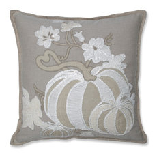 Harvest Pumpkins Decorative Beaded Pillow Natural/Off White