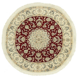 Nain 9La Persian Rug, Round Hand-Knotted Classic, 155x155 cm
