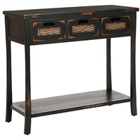 Traditional Console Table, Solid Elm Wood, 3-Drawer, Distressed Black