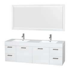 "Amare 72"" Glossy White Vanity, Acrylic Resin Top, Integrated Sinks, 70"" Mirror"