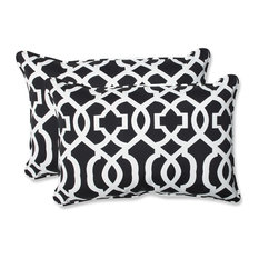 New Geo and White Oversized Rectangular Throw Pillow, Set of 2, Black