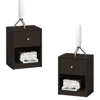 (Set of 2) 1 Drawer Nightstand in Coffee