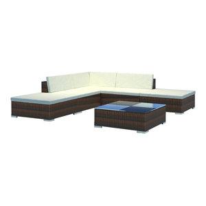 29416856ed45 vidaXL Outdoor Lounge Set 15 Pieces Wicker Poly Rattan Brown Garden Patio  Sofa