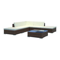 vidaXL Outdoor Lounge Set 15 Pieces Wicker Poly Rattan Brown Garden Patio Sofa