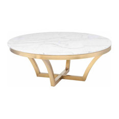 Nuevoliving Aurora Marble Coffee Table Gold Coffee Tables