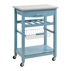 Contemporary Kitchen Island With Stainless Steel Top And Casters Blue