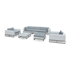 Outdoor Patio Furniture 7 Piece Weather-Wicker Sofa Sectional Set