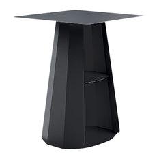 Ankara Square Bedside Table, Steel, Matte Black