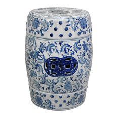 """18"""" Floral Blue and White Porcelain Garden Stool"""