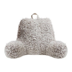 Faux Fur Reading Lounge Pillow, Silver White Fox