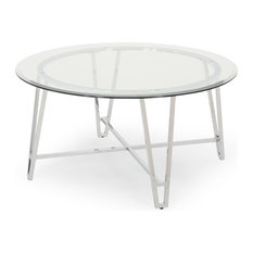 Phoebe Modern Iron Coffee Table With Round Tempered Glass Top