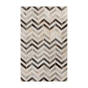 Mumbai Global Bazaar Chevron Grey Ivory Cowhide Rug - 5x8