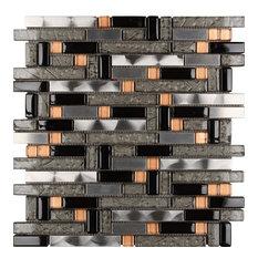 """12""""x12"""" Landslide Imagination Mosaic, Set Of 4, Gold Shimmer"""