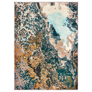 """Casa Abstract Blue/Gold Area Rug, 9'10""""x12'10"""""""