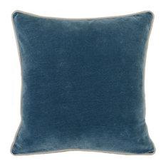 "Harriet Velvet Throw Pillow by Kosas Home, Marine Blue, 18""x18"""