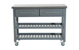 HOMCOM Rolling Kitchen Island Cart with Drawers, Shelves, and Stainless Steel