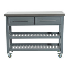 Aosom   Rustic Rolling Storage Cart On Wheels, Stainless Steel Top   Kitchen  Islands And