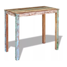 VidaXL Bar Table Solid Reclaimed Wood Dining High Breakfast Kitchen Dinner