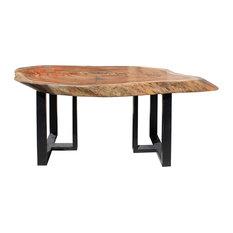 Raw Wood Plank Uneven Shape Metal Base Desk Table cs2713
