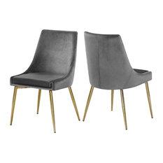 Karina Velvet Dining Chairs, Set of 2, Gray, Gold Base