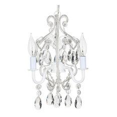 Tiffany 3-Light Mini Beaded Crystal Chandelier, White