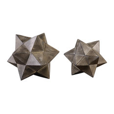 Uttermost Geometric Stars Concrete Sculptures, Set of 2