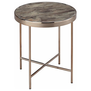 Contemporary Coffee Table, Marble Glass Top and Rose Gold Finished Steel Legs